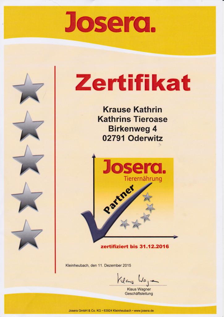 Zertifikat Josera 2016